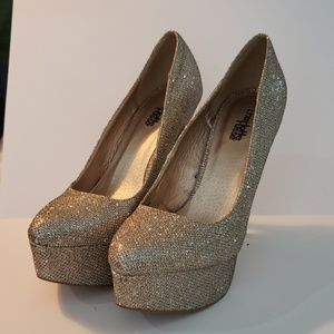 Charlotte Russe Gold sequin shoes size 8